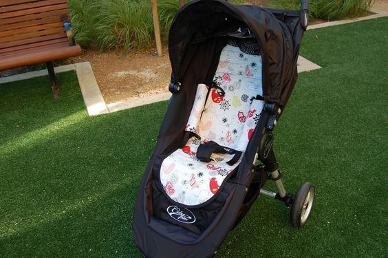 Personalized Reversible Stroller Pad Liner  ..Baby Jogger City Mini.... Baby Jogger City Micro- - - Made to Order - - -. $55.00, via Etsy. Has slot for folding strap