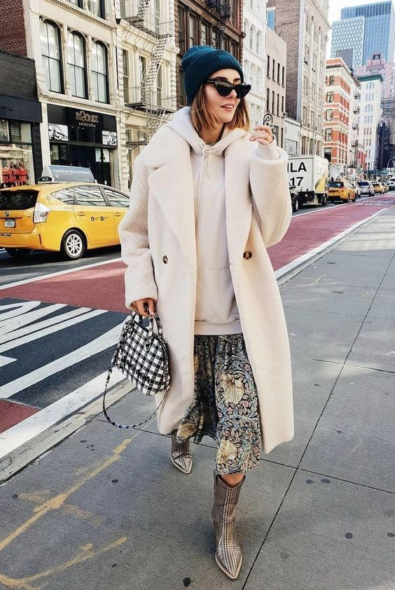 White teddy bear coat with hoodie, sunglasses and floral skirt #winteroutfits #winterfashion #ootd #outfits