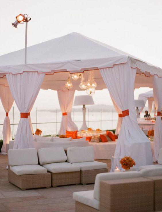 Cancun All Inclusive Stylish Beach Wedding Reception Lounge Set Up