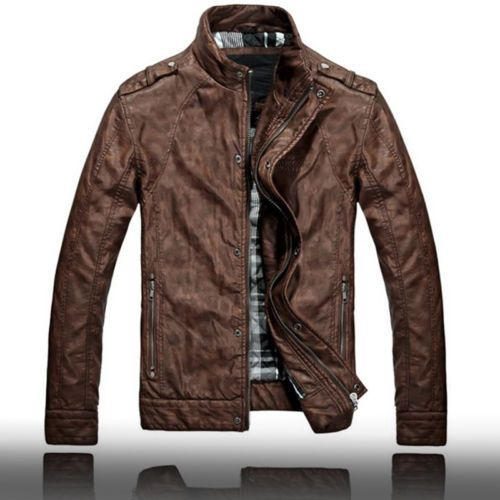 Mens Vintage Brown Leather Jacket - JacketIn