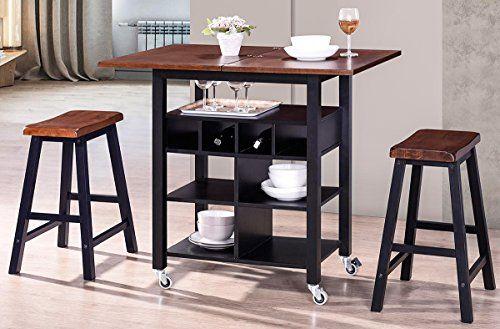 21+ Espresso folding 3 piece dining set Inspiration