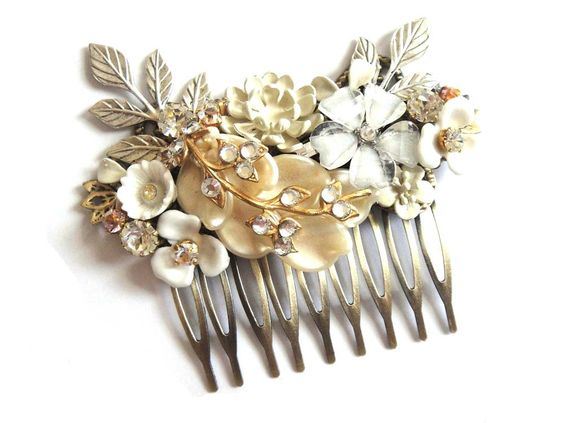 Bridal hair comb - vintage wedding - shabby chic in ivory white and champagne - bridesmaids gift. €87,00, via Etsy.