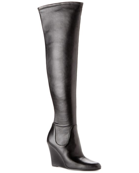 Wedge Over The Knee Boots Leather - Yu Boots