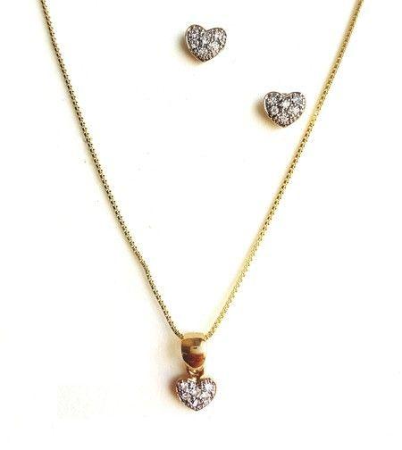 Conjunto banhado a ouro cravejado em zircônia - Coração