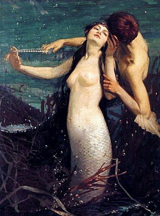 mermaid | Pearls for Kisses by Fred Appleyard (1874-1963) | painting | art.