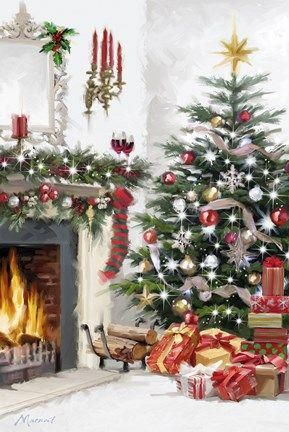 Zoom Christmaspaintings Christmas Art Christmas Illustration Christmas Paintings