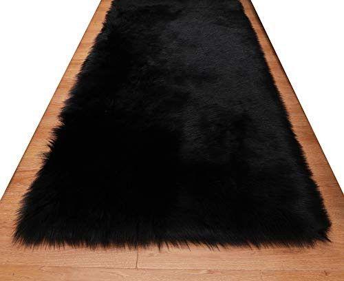 Huahoo Faux Fur Sheepskin Rug Black Kids Carpet Soft Faux Sheepskin Chair Cover Home Decor Accent For A Kid S Room Childrens Bedroom Nursery Living Room Or Ba Black Carpet Bedroom Black Bedroom