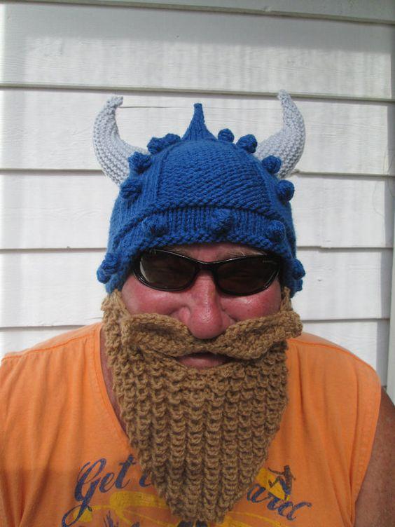 Viking beard hat Long beard Beard hat Beard Beanie Wild Man Bearded Hat Knitted, viking hat mütze männer  Adult Size on Etsy, $65.80 AUD