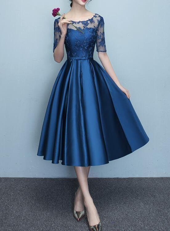 blue short sleeves tea length formal dress blue bridesmaid dresses w bemybridesmaid pakaian jelita model pakaian wanita model baju wanita