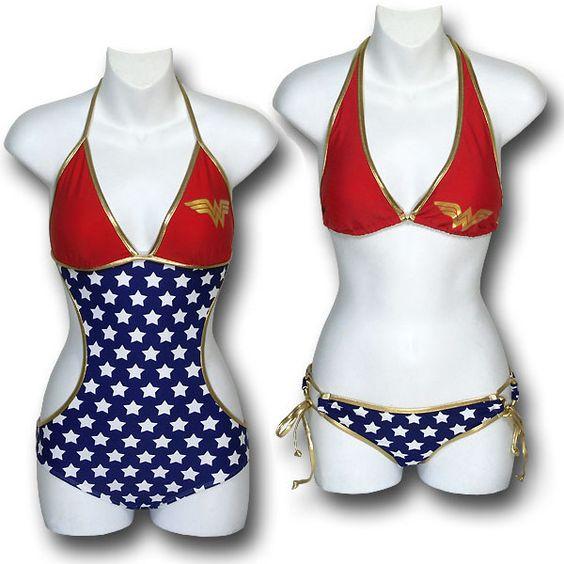Wonder Woman Bikini and Monokini One-Piece Swimsuit