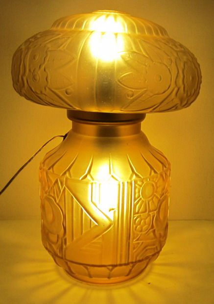 Antique art deco table lamp by henri heemskerk scailmont - Deco vintage belgique ...