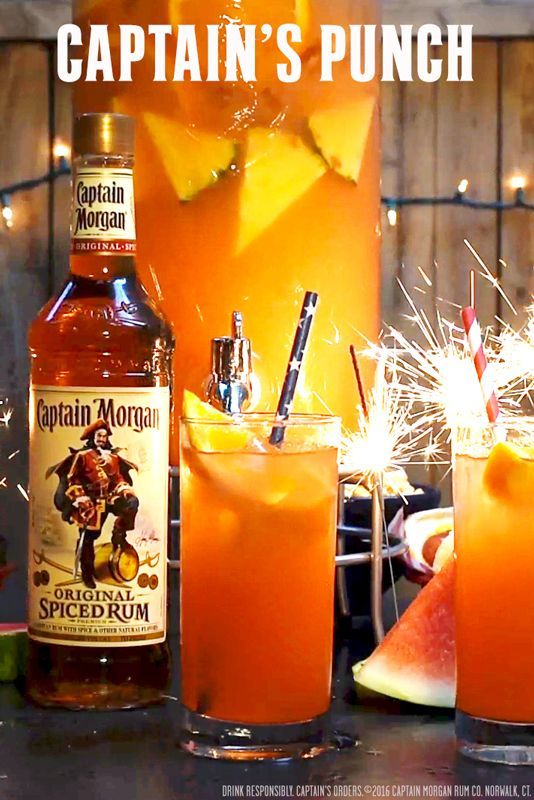 Pack a punch this summer with our new rum punch recipe below:  24 oz. Captain Morgan Original Spiced Rum  24 oz Pineapple juice  24 oz Fresh orange juice  24 oz Ginger ale  2 oz Grenadine syrup  Get more summer rum recipes at https://us.captainmorgan.com/rum-cocktails/?utm_source=pinterest&utm_medium=social&utm_term=summer&utm_content=captain_punch&utm_campaign=recipe