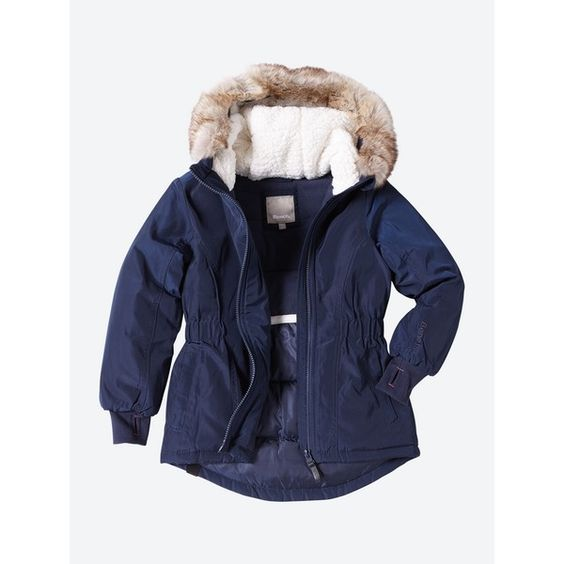Taillierte Jacke Start mit Besatz in Fell-Optik - Dark Navy Blue