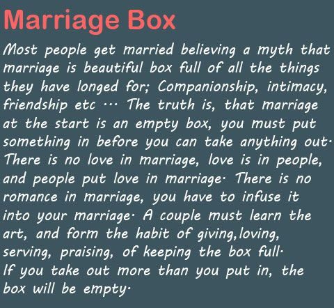 Perfectly stated. Need to print, Marriage Box