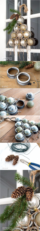 Mason jar lid ornament Christmas tree wreath | DIY Crafts Club