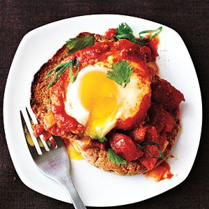 Eggs Poached in Curried Tomato Sauce Recipe #egg #eggs #poached #curried #tomato #sauce #cooking #light #indian #curry #powder #cilantro #tomatoes #diced #coconut #milk #english #muffins #recipes #ideas #lunch #dinner #breakfast #healthy