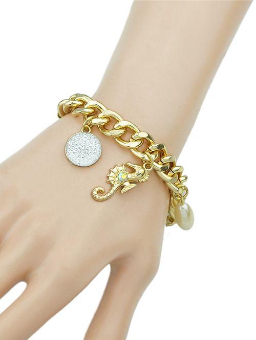 Rhinestone Leaf Cross Bracelet