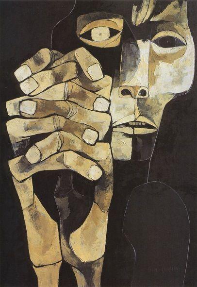 Cabeza y mano XV by Oswaldo Guayasamin