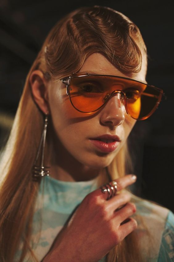 Sci-fi orange tinted shades and futuristic waves. Space age meets Blade Runner at Opening Ceremony AW16 New York:
