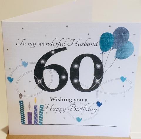 Happy 60th Birthday Card For Husband Herbysgifts Com 6 X 6 Inches 60th Birthday Cards Happy Birthday Husband Cards Birthday Cards