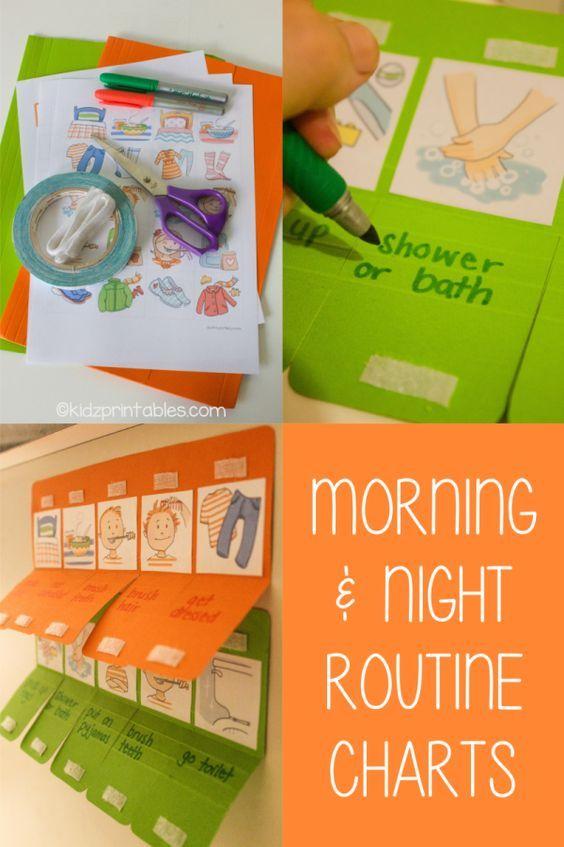 Kids Morning and Night Routine Charts DIY Printable