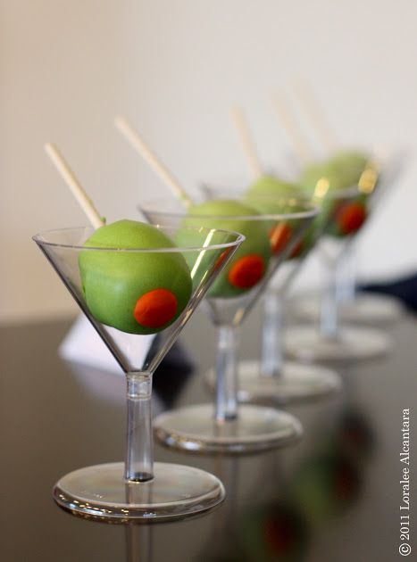olive cake pops in martini glasses for a cocktail party with my girl ...