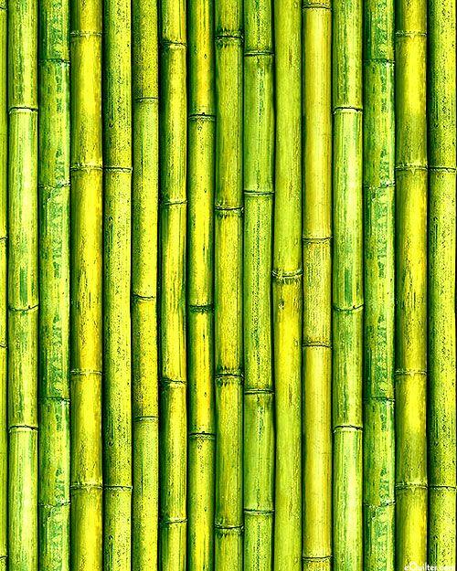 Imaginings Bamboo Poles Lime Green Digital Print Quilt
