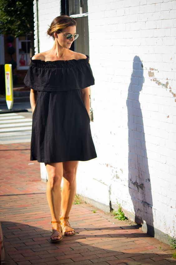 Black off-the-shoulder dress. Perfect for a casual summer date night or at the beach.