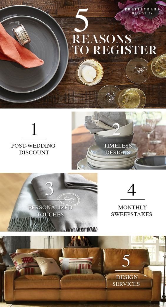 Wedding registries, Pottery barn and 6 months on Pinterest