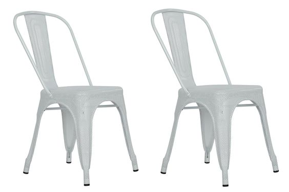 Dorel Home Furnishings Nova White Metal Mesh Dining Chair, Set of 2