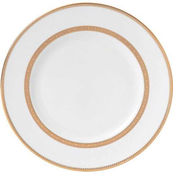 VERA WANG @ WEDGWOOD Lace Gold plate 27cm (£28) ❤ liked on Polyvore featuring home, kitchen & dining, dinnerware, wedgwood dinnerware, gold plated dinnerware, gold plated plates, wedgwood plates and wedgwood