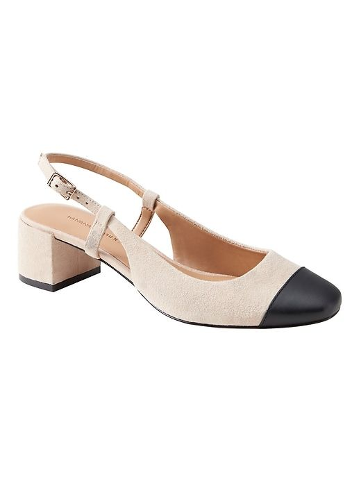 Banana Republic Womens Low Block Heel Slingback Pump Almond Suede Black Leather Me Too Shoes Dress Shoes Womens French Shoes