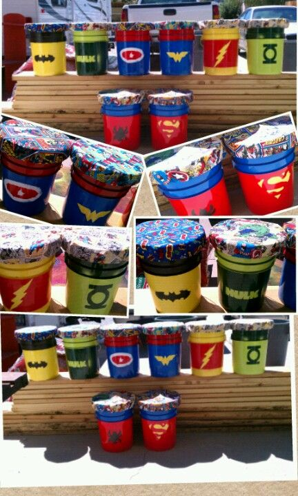 Superhero paint bucket stools for the classroom