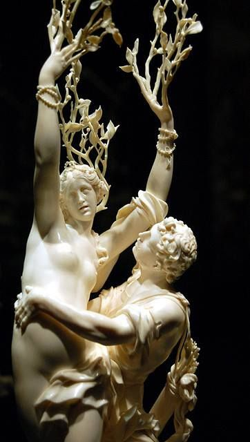 Apollo and Daphne ( c.1680–85) – Bernini. He is trying to take her, to rape her and she is a wood nymph. She starts to change into a tree. I felt as though they would start to move.