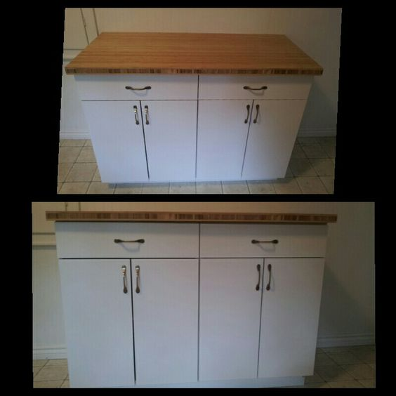 Simple bamboo butchers block cabinet (backsplash optional)