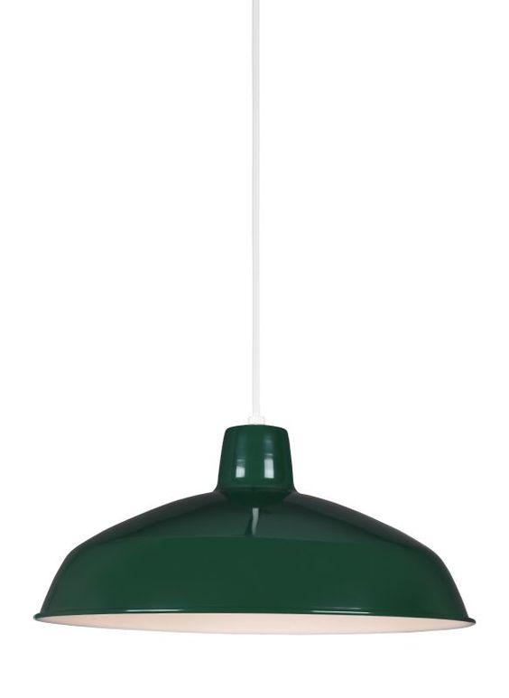 Sea Gull Lighting 651991S Painted Shade LED Title 24 Pendant Emerald Green Indoor Lighting Pendants