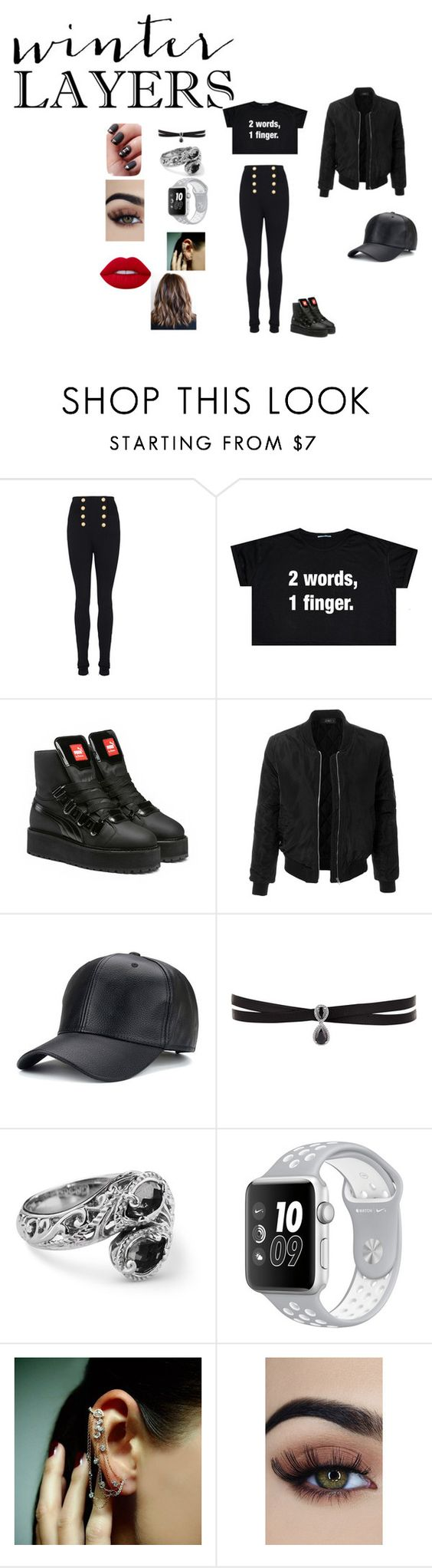 """""""f**ck"""" by cassandrajolley ❤ liked on Polyvore featuring Balmain, Puma, LE3NO, Fallon, Mike Saatji and Lime Crime"""