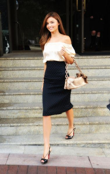 two of my favorite things - pencil skirts and off the shoulder tops