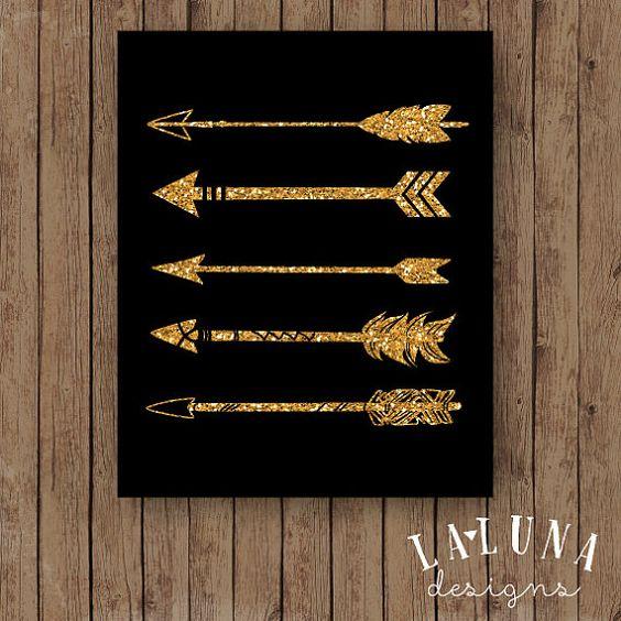 Pfeil Print Pfeil Wandkunst Gold Glitter Pfeil von LaLunaDesigns