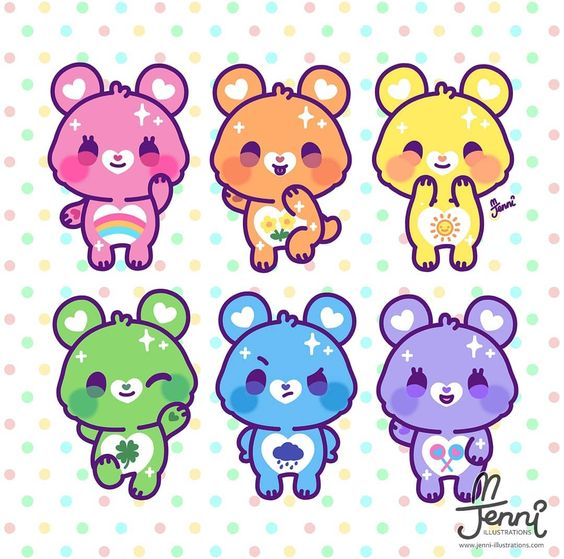 J E N N I Animenyc F17 On Instagram Drew Some Care Bears In My Style Cute Animal Drawings Kawaii Cute Kawaii Drawings Kawaii Drawings