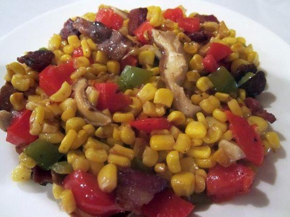 Spicy Corn, Shiitake and Bacon #Salsa