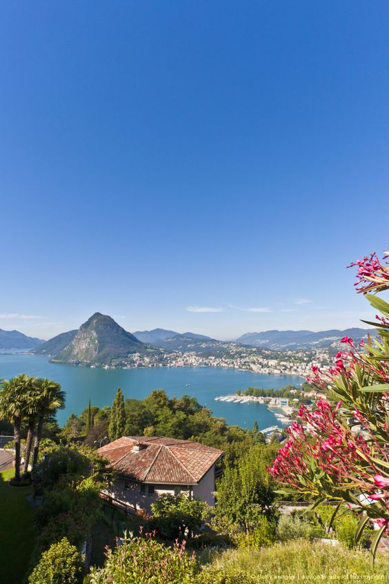Switzerland, Ticino, View of Lugano city with Lake
