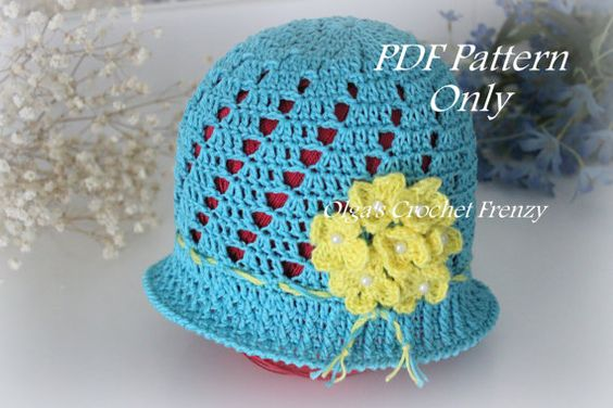 Crochet Hat Patterns For One Year Old : Blue Cloche Hat with Yellow Flowers Crochet Pattern, Size ...