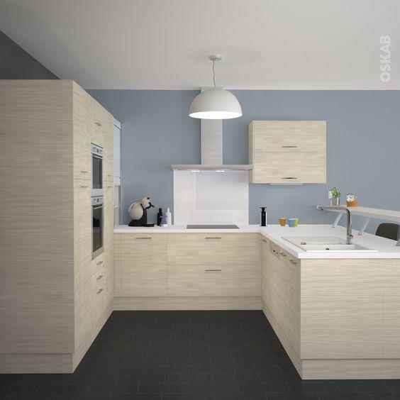 Cuisine en bois clair structur stilo noyer blanchi cuisine Implantation cuisine en u