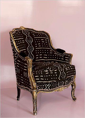 mudcloth upholstery on gilt Louis:
