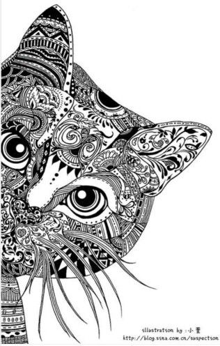 hard cat design coloring pages - photo#6