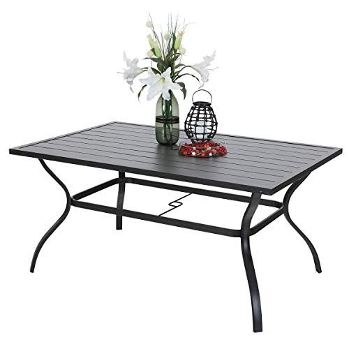 Phi Villa Outdoor Patio 60 X38 Rectangular Dining Table For 6 Person With Umbrella Hole Black Lavorist Rectangular Dining Table Iron Patio Furniture Patio Dining Table