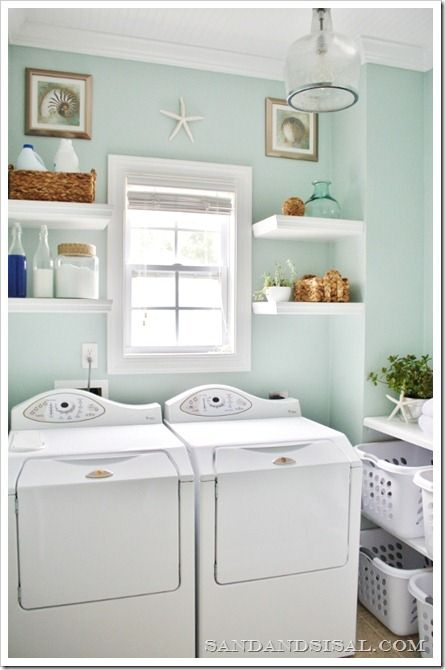 Love the pretty and light colours and folding table with shelf for baskets underneath. Painted concrete floor with sisal rug?