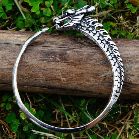 Ouroboros Uroborus Norse Celtic Dragon Serpent Infinity Pewter Bangle Bracelet #Unbranded #Bangle