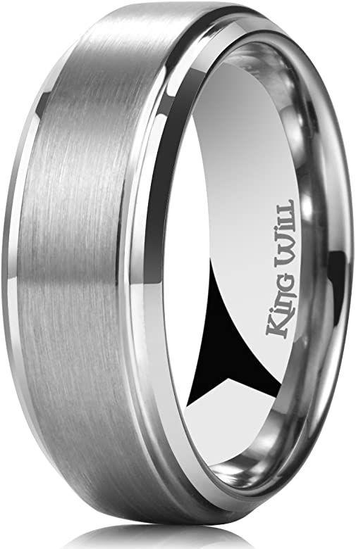Titanium 7mm Brushed White Plated Finish Ring With Polished Stepped Edges Wedding Band